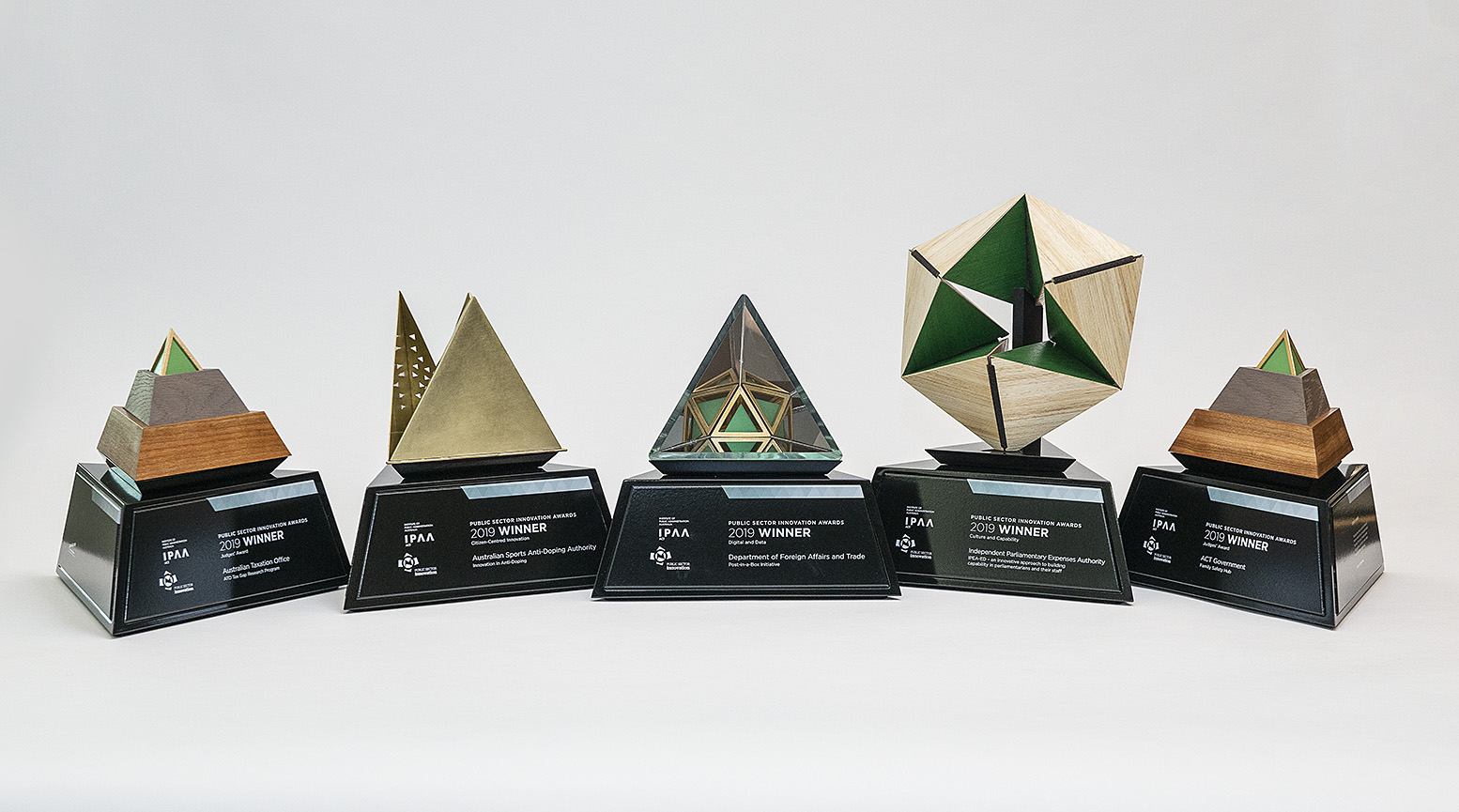 2019 Public Sector Innovation Award trophies designed and built by Questacon