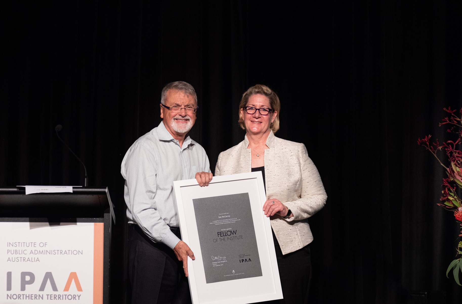 Professor Peter Shergold AC with new National Fellow, Ms Sue McCarrey