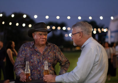 Professors Mick Dodson and Peter Shergold share a quiet beer